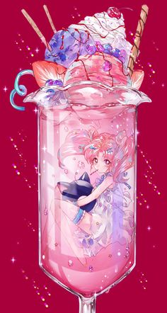Anime picture 				1200x2250 with  		bishoujo senshi sailor moon 		toei animation 		chibiusa 		luna p 		ahma 		long hair 		single 		tall image 		looking at viewer 		simple background 		twintails 		bare shoulders 		pink hair 		pink eyes 		barefoot 		hair bun (hair buns) 		red 		sparkle 		submerged 		minigirl