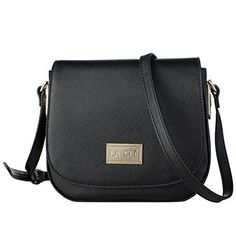 La Cl LA010Saddle Flap Structured Mini Small Crossbody Bag Leather Purse Black * You can find more details by visiting the image link.