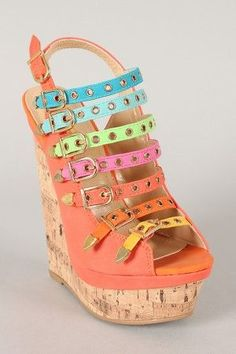 Fiona Buckle Embellished Open Toe Platform Wedge $53.90