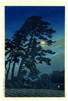 """Japanese Art Print """"Full Moon in Magome"""" by Kawase Hasui, woodblock print reproduction, asian art, c Art Asiatique, Norman Rockwell, Japanese Painting, Chinese Painting, Art Graphique, Japanese Prints, Japan Art, Woodblock Print, Chinese Art"""