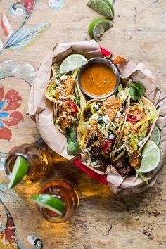 Bulgogi BBQ Pork Tacos with Charred Tomatillo Sesame Sauce + Spring Onion Slaw - Half-Baked Harvest Pork Tacos, Bbq Pork, Asian Recipes, Mexican Food Recipes, Ethnic Recipes, Dinner Recipes, Quesadillas, Empanadas, Quiche