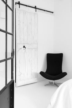 Take a close look at the sliding door, there's a trompe l'oeil shirt hanging and I do believe the door itself is trompe l'oeil. Room, Interior, Grey Interior Design, Home, Interior Barn Doors, 1960s Home Decor, House Interior, White Interior, Interior Design