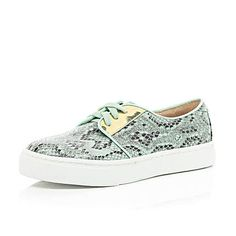 Turquoise snake print lace up trainers £25 #riverisland