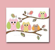 Art for Children  Kids Wall Art Baby Girl Room par artbynataera, $14,00  So easy to craft owls!!!