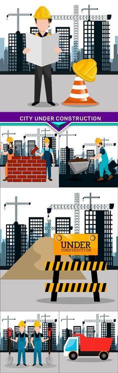 City under construction vector illustration 6X EPS