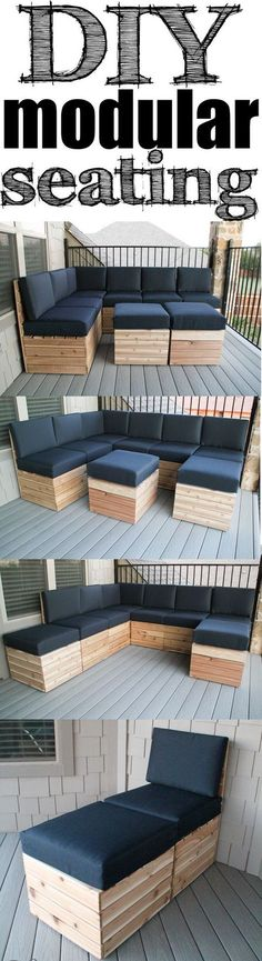 DIY Modular Seating Easy build and you can build itarrange it to fit your space Free Plans Outdoor Seating, Outdoor Spaces, Outdoor Living, Outdoor Decor, Outdoor Couch, Garden Seating, Backyard Seating, Backyard Patio, Yard Benches