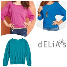 BUNDLE Delia's Lucy Banded Dolman Size M ACCEPTING OFFERS. NO LOW BALLERS. Can be sold separately. Please read thoroughly before making purchase, offers or comments!!! No trades. Pre-owned. Used but excellent condition. No flaws or stains. Colors are pink, blue and Aqua. Can be worn off the shoulder or Boatneck style. Cute with jeans/leggings/capris and flats. Or use over workout gear or lounging around the house. Very versatile. Retail $19.50 each or $60 total. Make me an offer. Delia's…