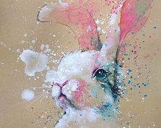 Bunny watercolor with gouache painting art print Eagle Painting, Bunny Painting, Pencil Painting, Gouache Painting, Watercolor Paintings Of Animals, Animal Paintings, Animal Drawings, Watercolor Art, Watercolor Pencils