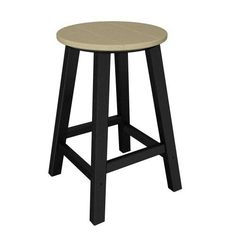 Poly-Wood Contempo Counter Height Round Bar Stool - Black Frame, Sand Slat by Poly-Wood. $129.99. Width: 15.75 inches. Depth: 15.75 inches. Height: 24.13 inches. Seat Height: 24.13 inches. WHAT�S INCLUDED:Contempo Counter Height Round Bar StoolThis eye-catching contemporary bar stool is the perfect companion to the Contempo counter height table and comes in a wide variety of dual color options.