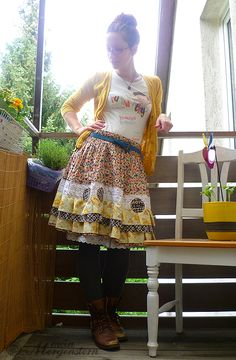 reStyled skirt mad by mein Morgenstern Clothes Crafts, Sewing Clothes, Refashion Dress, Make Your Own Clothes, Altered Couture, Got The Look, Upcycled Clothing, Colourful Outfits, Slow Fashion