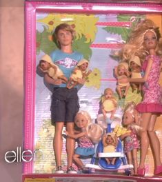 """Of course, I thought this was so funny when they had """"Barbies Having Barbies"""" on the Ellen show. Since Barbie never had kids - the spoof of a Barbie mom and a Ken Barbie dad having Barbie Babies is so fun. Especially eight barbie babies. Barbie having a family miniature family is funny. #barbiebaby #barbiebabies #barbiespoof #barbiekid #barbiekids"""