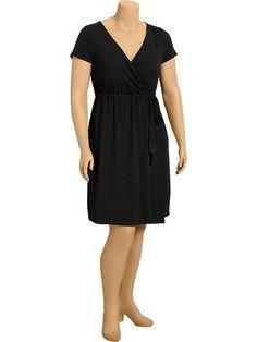 Old Navy Womens Plus Wrap Front Dresses Size 2X Plus - Black jack | 24% OFF
