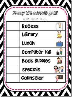 a sign for outside your door to show where you are.. this is a great blog for teacher ideas