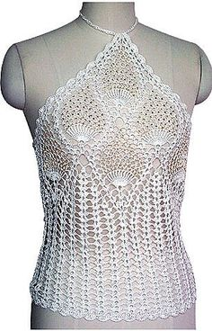 Knit crochet: Light blouse with strings on the neck Crochet Tank Tops, Crochet Blouse, Crochet Braids, Crochet Lace, Crochet Triangle, Crochet Woman, Bustier Top, Bustiers, Crochet Fashion