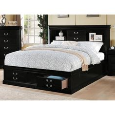 Shop for Black Acme Furniture Louis Philippe III Bed with Storage. Get free shipping at Overstock.com - Your Online Furniture Outlet Store! Get 5% in rewards with Club O!