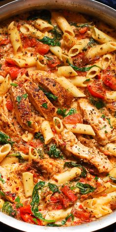 Creamy Chicken and Bacon Pasta is simple, fast and delicious! Full of tender chicken, spinach, tomatoes, and bacon! Chicken Tomato Pasta, Chicken Bacon Spinach Pasta, Baked Chicken Pasta Recipes, Spinach Pasta Recipes, Tomato Pasta Recipe, Chicken Pasta Dishes, Shrimp Pasta, Creamy Pasta Recipes, Italian Chicken Recipes