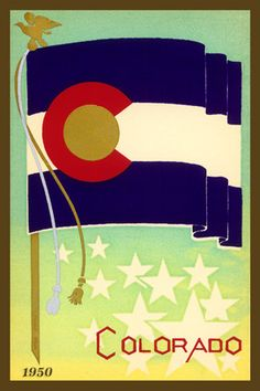 Colorado State Flag - 1950 Postcard.  Printed on cotton.  Ready to sew.  Single 4x6 block $4.95.