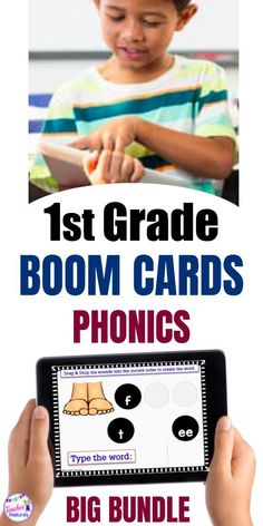 This giant Boom Cards 1st Grade Bundle for word recognition, phonological awareness, sounds (phonemes), phonics, word families, syllable division and more. Use throughout the year to teach 1st grade phonics & foundational skills plus a few 2nd grade CCSS skills. #boomcards #boomcardsfirstgrade #boomcardsphonics #boomcardselementary #boomcards1stgrade #1stgrade #firstgrade #1stgradecenters #teacherfeatures #phonics #literacycenter #backtoschool #firstgradephonics #tpt #daily5centers #wordwork