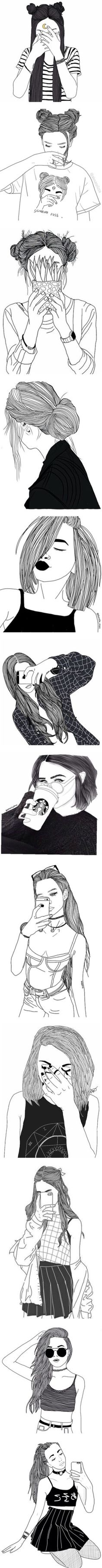 black line drawings by xxharrietxx on Polyvore featuring black, drawings, fillers, doodles, art, outlines, drawing, text, quotes and magazine