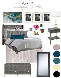 Masculine Glam Bedroom Concept Board for eDesign apartment project Glam Master Bedroom, Master Bedroom Makeover, Bedroom Decor, Ashley Bedroom, Master Bedrooms, Modern Bedroom, Master Bath, Coastal Bedrooms, Coastal Living