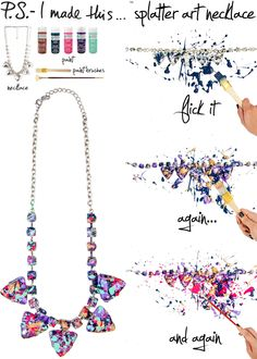 Splatter Paint Statement Necklace