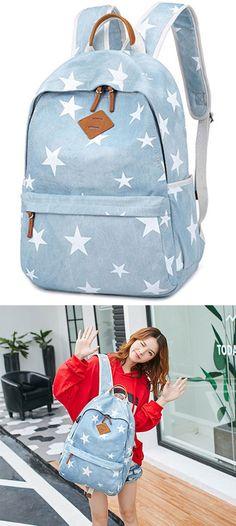 52464ac95da9 Sweet Light Blue Student Stars Denim School Canvas Backpack for big sale!   student