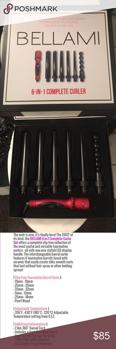 Bellami 6 in 1 curling wand set Bellami Hair 6 in 1 curling wand set. Has 6 attachments including thermal glove in box. Only used a handful of times! Bellami Hair Accessories Hair Accessories