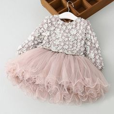 Exquisitely Detailed Tulle Dress Gorgeous Priness Dress Sleeve Length(cm): Full Fit: Fits smaller than usual. Please check this store's sizing info Silhouette: Ball Gown Dresses Length: Above Knee, Mi Dress Flower, Tulle Flower Girl, Flower Girl Dresses, Flower Petals, Flower Girls, Flowers, Girls Spring Dresses, Dresses Kids Girl, Kids Outfits