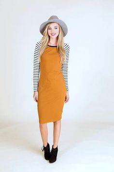 Striped Baseball Sleeve Midi