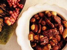 These are addicting!  Maple Spiced Nuts-The Cozy Little Kitchen