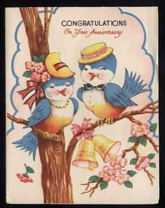 Shop Vintage Blue Bird Anniversary Greeting Card created by RetroMagicShop. Personalize it with photos & text or purchase as is! Anniversary Greeting Cards, Wedding Anniversary Cards, Happy Anniversary, Anniversary Congratulations, Wedding Cards, Vintage Birthday, Vintage Valentines, Vintage Holiday, Vintage Greeting Cards