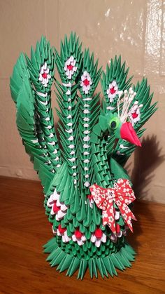 3d origami peacock 2