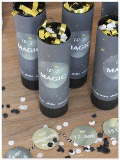 DIY Einladung Zur Zaubererparty Zauberparty Konfetti Konfettikanone Einladung  Kindergeburtstag Geburtstagseinladung Zauberer