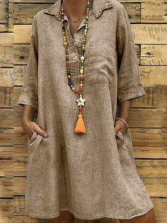 5a02b9ca2d11 Casual Solid Cotton Buttoned Summer Dresses Abiti Estivi Per Le Donne