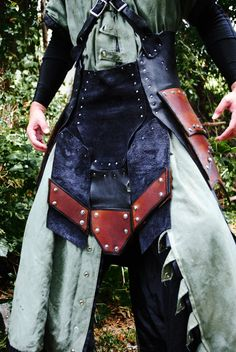 leather and canvas leggings - awesome alchemist warrior kilt - pelvis and thigh protection by Epic-Leather on Deviantart