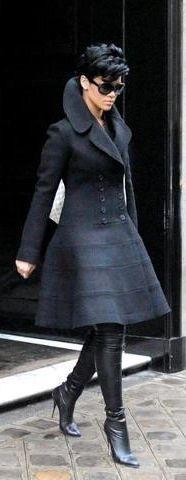 Rihanna in black coat