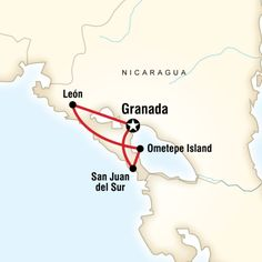 Map of the route for G Adventures' Essence of Nicaragua tour