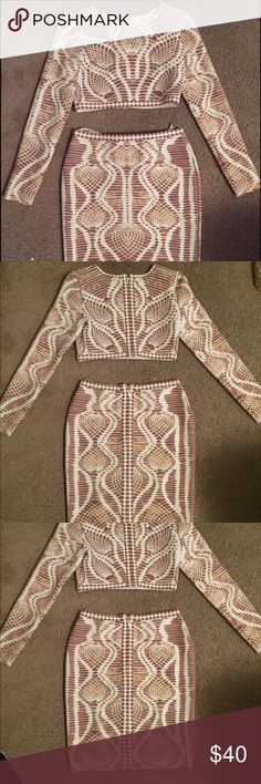 "2 piece bandage set Great condition. Worn once. 2 piece set. Skirt hits about 6in above knee (I'm 5'7"") Skirts Skirt Sets"