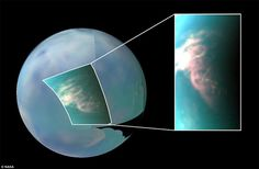 This infrared image of Saturn's moon Titan shows a large burst of clouds in the moon's sou...