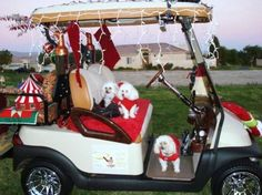one of the many many decorated golf carts around the villages at christmastime