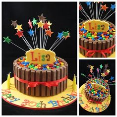 Yellow Kit Kat Explosion Cake Collage Dinosaur Birthday Cakes, 40th Birthday Cakes, Candy Cakes, Cupcake Cakes, Cupcakes, Just Cakes, Cakes And More, Skittles Cake, Pinata Cake