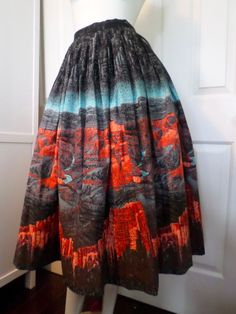 Novelty print Grand Canyon 50s 60s pleated full skirt mint condition vintage S-M