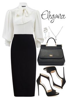 Untitled #796 by bearnadette on Polyvore featuring polyvore fashion style Alexander McQueen Rick Owens Jimmy Choo Dolce&Gabbana TARA Pearls Tiffany & Co. clothing