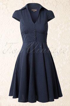 Fever - 40s Coco Polkadot Shirt Dress in Navy