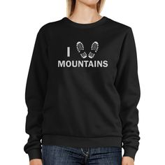 I Heart Mountain Black Funny Graphic Sweatshirt For Mountain Lovers