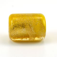 Gold Dichroic on Yellow Handmade Glass Lampwork Bead by GlassyFields on Etsy