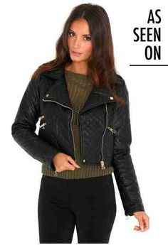 Georgina Quilted Biker Jacket With Zip Detail Puffer Jackets, Winter Wardrobe, Missguided, Coats For Women, Fur Coat, Leather Jacket, Shopping, Clothes, Biker