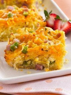 Do-Ahead Breakfast Bake - a weekend favorite with ham, potatoes, cheese & eggs!