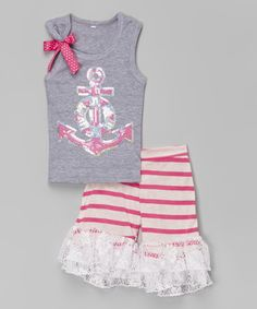 Love this Pink & Gray Anchor Tank & Ruffle Shorts - Infant, Toddler & Girls on #zulily! #zulilyfinds