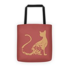 Tote Floral Cat (185 HRK) ❤ liked on Polyvore featuring bags, handbags, tote bags, red tote bag, red tote purse, floral tote, cat tote and red handbags